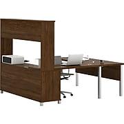 Bestar® Pro-Linea U-Desk with Hutch and Credenza in Oak Barrel