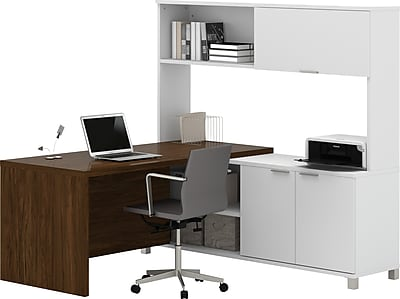 Bestar® Pro-Linea L-Desk with hutch in White & Oak Barrel