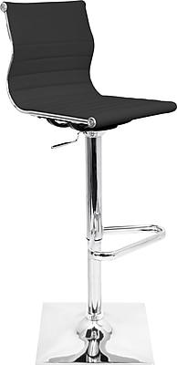 LumiSource Master 46'' Modern Adjustable Height Leather Bar Stool, Black (BS-TW-MASTER BK)