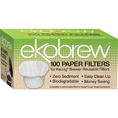 Ekobrew Paper Filters for Keurig Single Cup Brewers, 100 Count