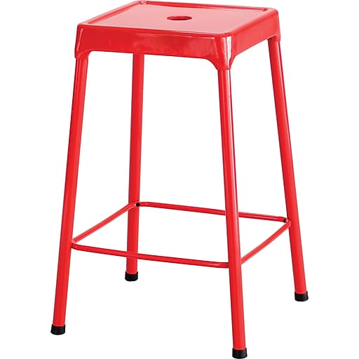 """Safco® Counter-Height Steel Stool, Red, 25""""H x 17 3/4""""W x 17 3/4""""D"""