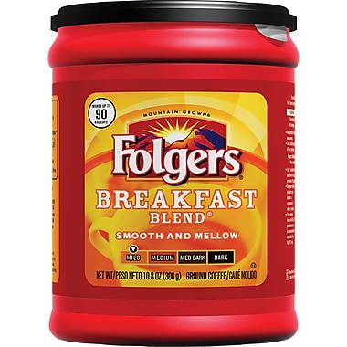 Folgers Breakfast Blend Ground Coffee, Regular, 10.8 oz. Can