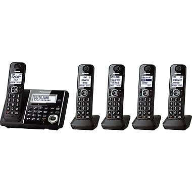 Panasonic KX-TGF345B 5-Handset Cordless Phone with Answering Machine, Black