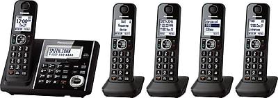 Panasonic KX-TGF345B 5-Handset Cordless Phone with Answering Machine, Black