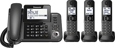Panasonic KX-TGF383M 3-Handset Link2Cell Bluetooth Corded/Cordless Phone with Answering Machine, Black