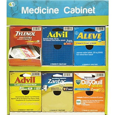 Handy Solutions 6 Medicine Cabinet Display, 72 Count Assorted Medicines