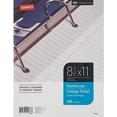 Staples Reinforced Filler Paper, College Ruled, 8-1/2