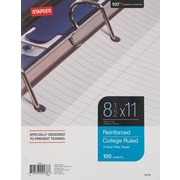 "Staples Reinforced Filler Paper, College Ruled, 8-1/2"" x 11"", Each (16183W)"