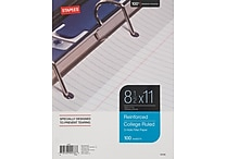 Staples Reinforced Filler Paper, College Ruled, 8-1/2' x 11', Each (16183W)