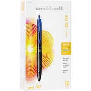 uni-ball 307 Retractable Gel Pens, Medium Point, Blue, Dozen