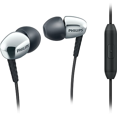 Philips SHE3905/WHT Rich Bass Earbuds with Mic, White