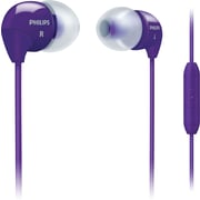 Philips SHE3595PPL Bass Sound Earbuds with In-Line Mic, Purple