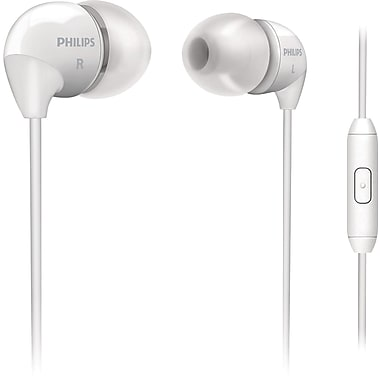 Philips SHE3595-WT Bass Sound Earbuds with In-Line Mic, White