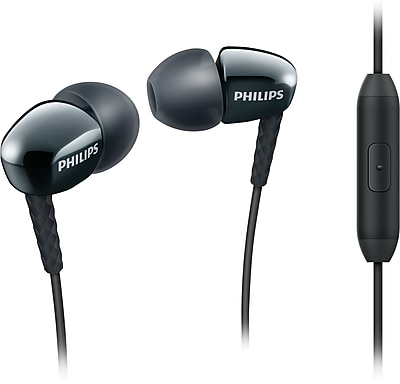 Philips SHE3905/BLK Rich Bass Earbuds with Mic, Black