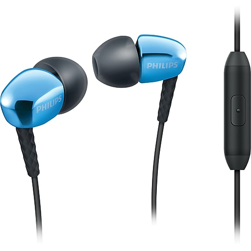 Philips SHE3905/BLU Rich Bass Earbuds with Mic, Blue