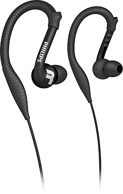 Philips SHQ3200BLK ActionFit Earhook Headphones, Black