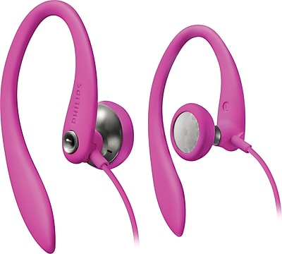 Philips SHS3200PNK Sport Bud Earhook Headphones, Pink