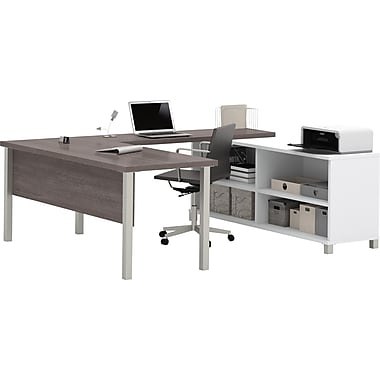 Pro-Linea U-Desk in White & Bark Grey