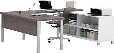 Bestar® Pro-Linea U-Desk in White & Bark Grey