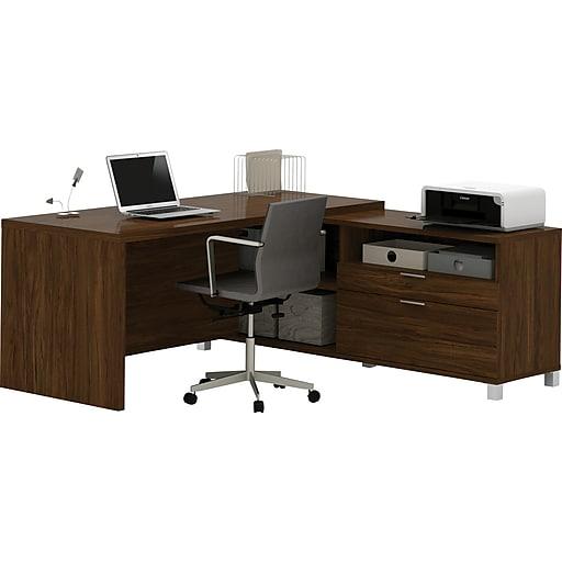 """Bestar® Pro-Linea 71""""W L-Desk, Oak Barrel (120863-30)"""