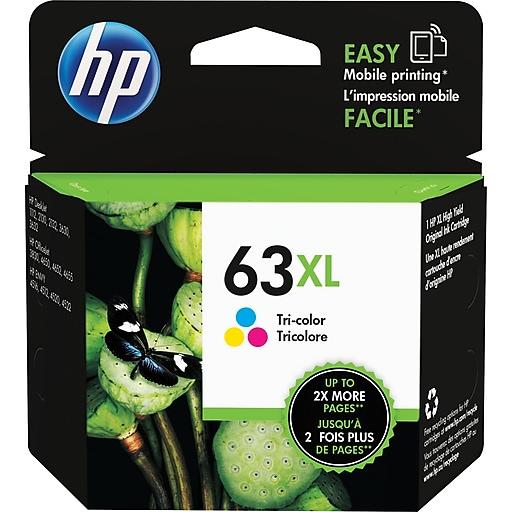HP 63XL Tri-Color Ink Cartridge, High-Yield (F6U63AN#140)