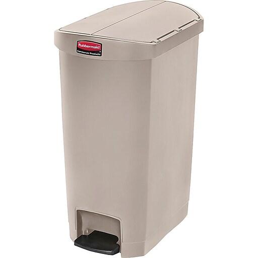 Rubbermaid Slim Jim Polyethylene Step Trash Can, Beige, 13 gal. (1883459)