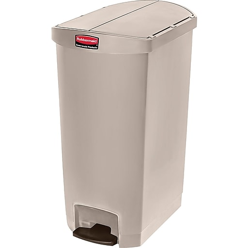 Rubbermaid® Slim Jim Resin End Step-On Trash Can with Rigid Plastic Liner, 18 Gallon, Beige