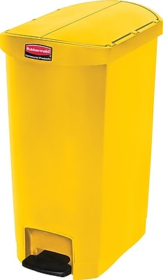 Rubbermaid® Slim Jim Resin End Step-On Trash Can with Rigid Plastic Liner, 13 Gallon, Yellow (1883576)