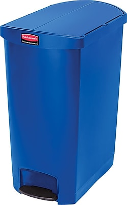 Rubbermaid® Slim Jim Resin End Step-On Trash Can with Rigid Plastic Liner, 24 Gallon, Blue (1883598)