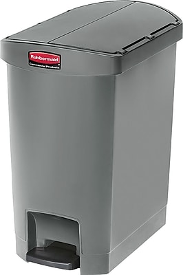 Rubbermaid® Slim Jim Resin End Step-On Trash Can with Rigid Plastic Liner, 8 Gallon, Gray (1883601)