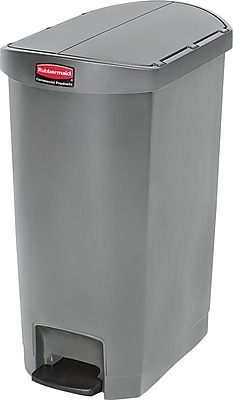 Rubbermaid® Slim Jim Resin End Step-On Trash Can with Rigid Plastic Liner, 13 Gallon, Gray (1883603)