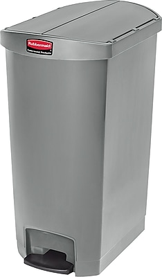 Rubbermaid® Slim Jim Resin End Step-On Trash Can with Rigid Plastic Liner, 18 Gallon, Gray (1883605)