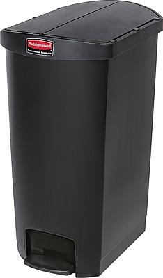 Rubbermaid® Slim Jim Resin End Step-On Trash Can with Rigid Plastic Liner, 18 Gallon, Black (1883614)