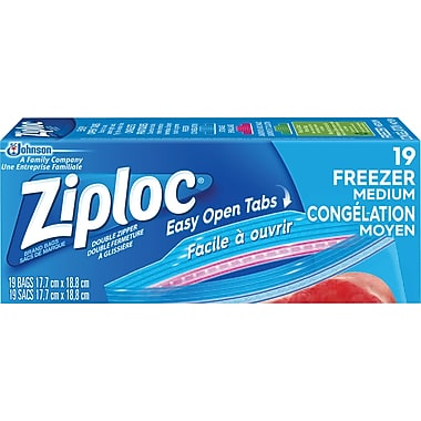 Ziploc All-Purpose Double-Zipper Storage Bags, Large, 19/Pack