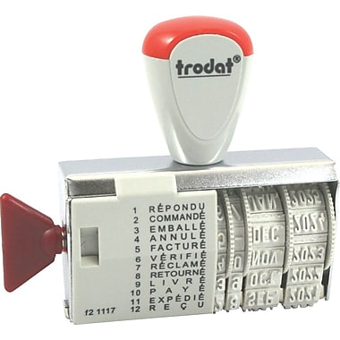 Trodat® 1117 Phrase Dater Stamp, 4 mm, French