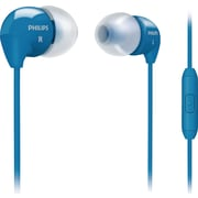 Philips SHE3595BLU Bass Sound Earbuds with In-Line Mic, Blue