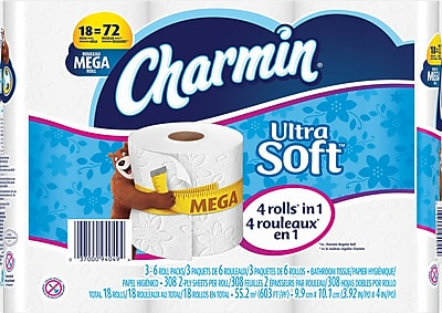 Charmin® Ultra Soft™ Toilet Paper, 2-Ply, 284 Sheets/Roll, 18 Mega Rolls/Pack (29727)