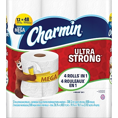 Charmin 2-Ply Ultra Strong Mega Roll Toilet Paper, White, 12/Pack ...