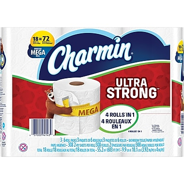 Charmin® Ultra Strong Toilet Paper, 2-Ply, 308 sheets,18 Mega Rolls/Pack (PGC 86525/83347)