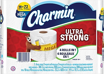 Charmin Ultra Strong Toilet Paper, 2-Ply, 308 Sheets/Roll, 18 Mega Rolls/Carton (83347)