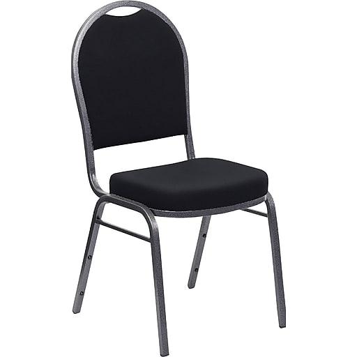 Iceberg® Banquet Chairs with Dome Back, Black/Silver, 4/Carton