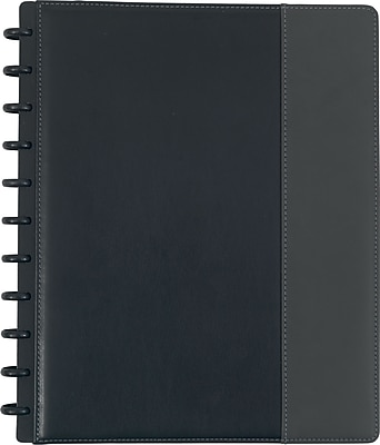 Staples® Arc Customizable PU Leather Notebook System, Black Grey, 9-1/2