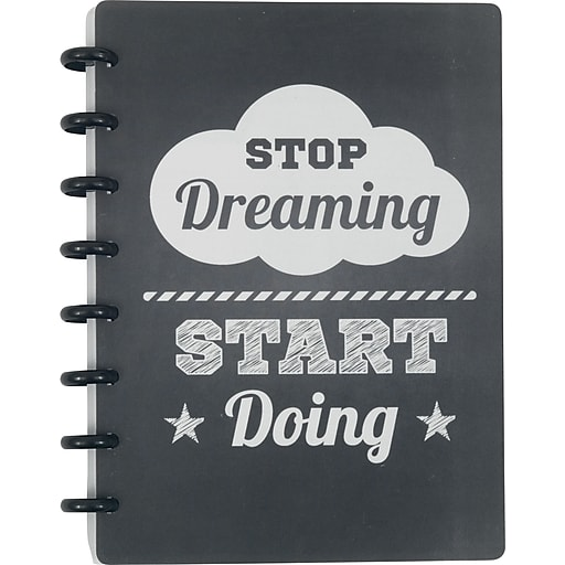 """Staples® Arc System Customizable Poly Notebook System, Stop Dreaming Quote, 6-1/2"""" x 8-1/2"""", 60 Sheets"""