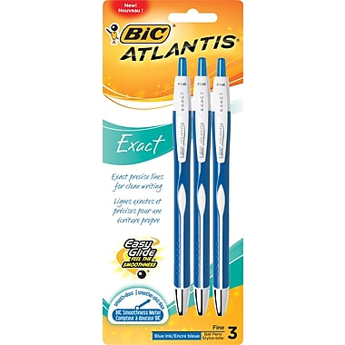 BIC® Atlantis® Exact Ballpoint Pen, Retractable, 0.7mm, Blue, 3/Pack