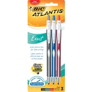 BIC® Atlantis® Exact Ballpoint Pen, Retractable, 0.7mm, Assorted, 3/Pack