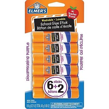 Elmer's - Bâtons de colle scolaires lavables, 6 g, paq./8