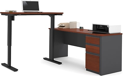 Bestar® Prestige+ L-Desk with Electric Height Adjustable Table: Bordeaux