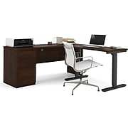 """Bestar® Prestige+ 71"""" L-Desk with Electric Height Adjustable Table, Chocolate (99885-69)"""