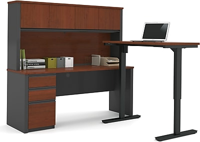 Bestar® Prestige+ L-Desk, Hutch, and Electric Height Adjustable Table: Bordeaux