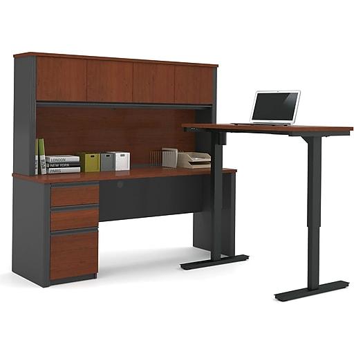"Bestar® Prestige+ 71"" L-Desk, Hutch, and Electric Height Adjustable Table, Bordeaux (99886-39)"